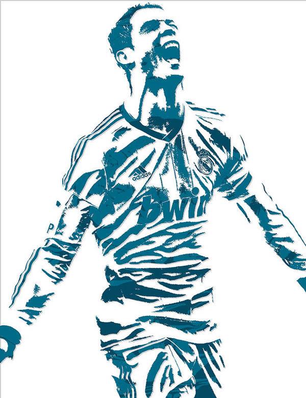 Cristiano Ronaldo Real Madrid Pixel Art 4 Art Print
