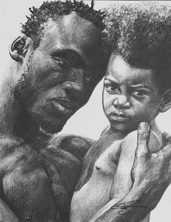 Dads Art Print featuring the drawing Daddy's Home by Curtis James