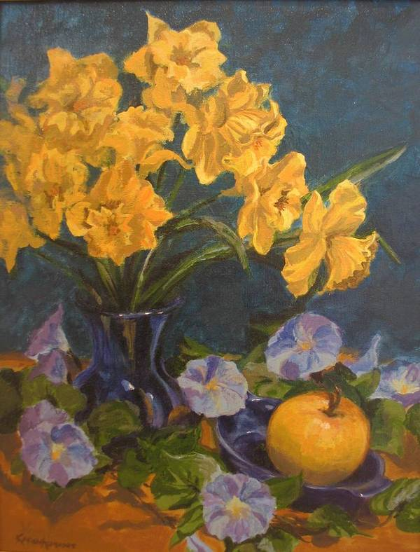 Still Life Art Print featuring the painting Daffodils by Karen Ilari