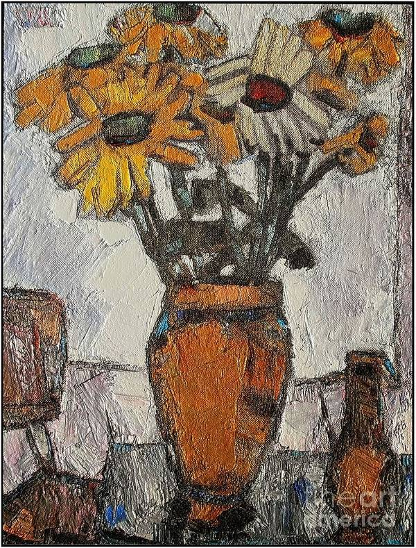 Still Life Art Print featuring the painting Daisies 5 by Pemaro