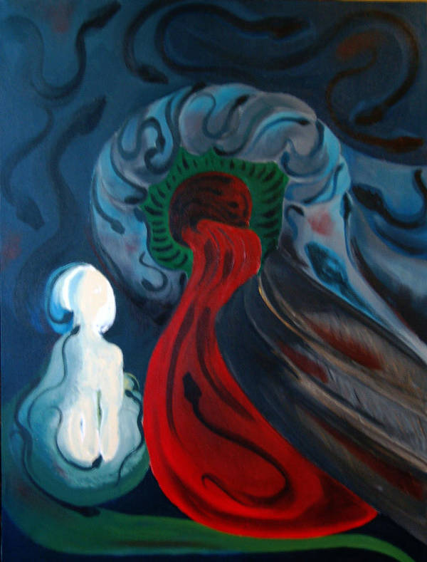 Abstract Art Print featuring the painting Dante by DeLa Hayes Coward