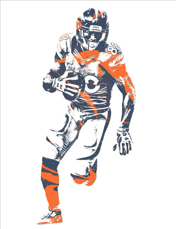 Demaryius Thomas Denver Broncos Pixel Art 15 Art Print by Joe Hamilton