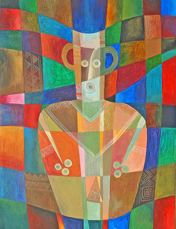 Spirit Vase Djinni Ethnic Ancient Mystery Art Print featuring the painting Djinni In Ancient Vase by Jennifer Baird