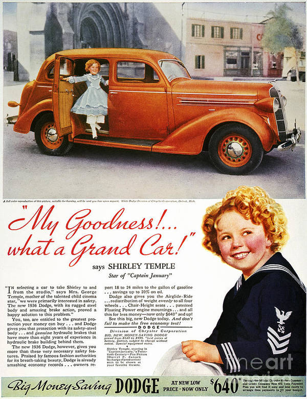 1936 Art Print featuring the photograph Dodge Automobile Ad, 1936 by Granger