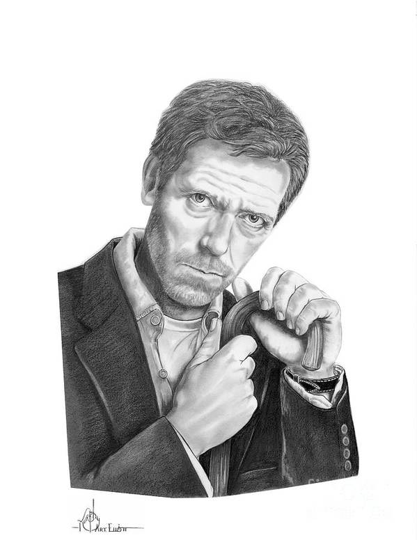 Drawing Art Print featuring the drawing Dr. House Hugh Laurie by Murphy Elliott