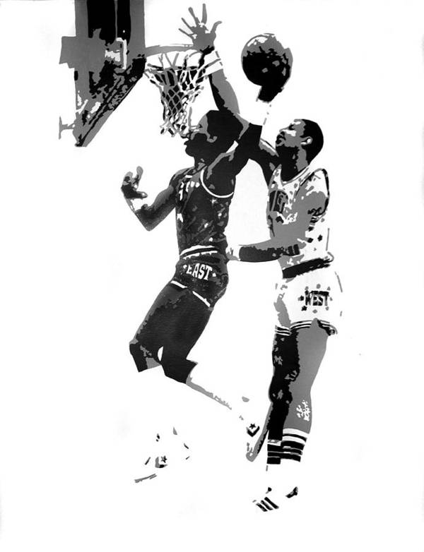 Basketball Art Print featuring the painting Dr. J And Kareem by Ferrel Cordle