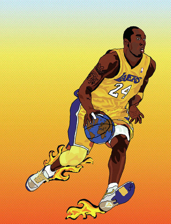 Los Angeles Lakers Art Print featuring the painting Dribbling The World by Paul Arm