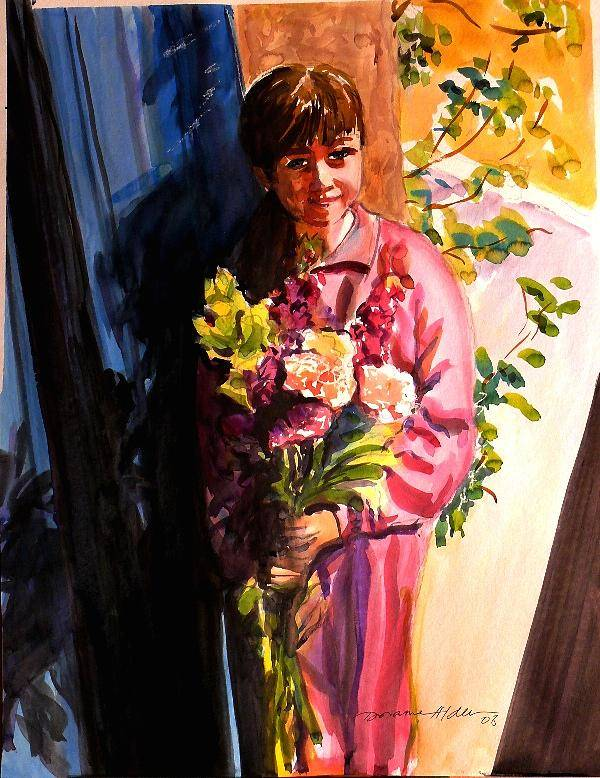 People Art Print featuring the painting Easter Bouquet by Doranne Alden