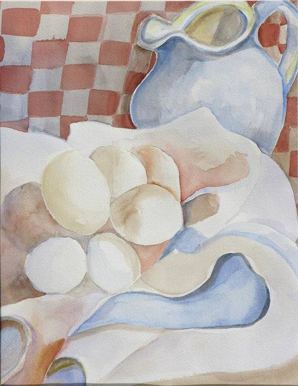 Still Life Art Print featuring the painting Eggs With Pitcher by Kathy Mitchell