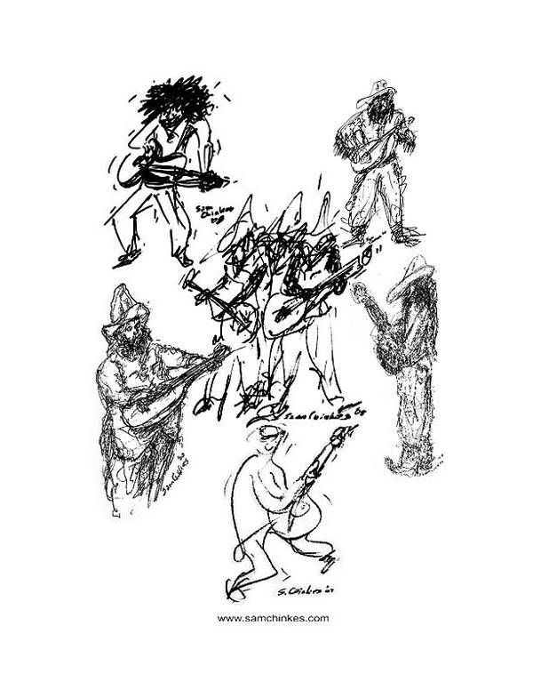 Musicians Art Print featuring the drawing Eight Guitars by Sam Chinkes
