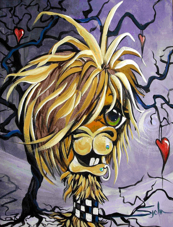 Emo Art Print featuring the painting Emo Alpaca by Patty Sjolin