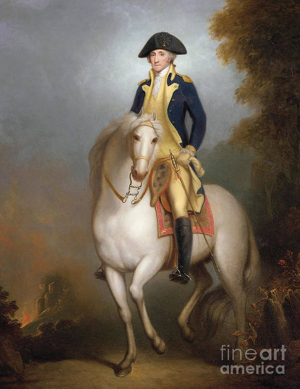 Equestrian Portrait Of George Washington (oil On Paper Laid Down On Board) 88:george Washington (1732-99) First President Of The United States Of America; Leader Of The Continental Army During The American Revolutionary War; American; Politician; Male; Portrait; Horse; Riding; Rider; Us; 1st; Usa; Uniform; Bicorn; Hat; Sword; Soldier; Us Art Print featuring the painting Equestrian Portrait Of George Washington by Rembrandt Peale