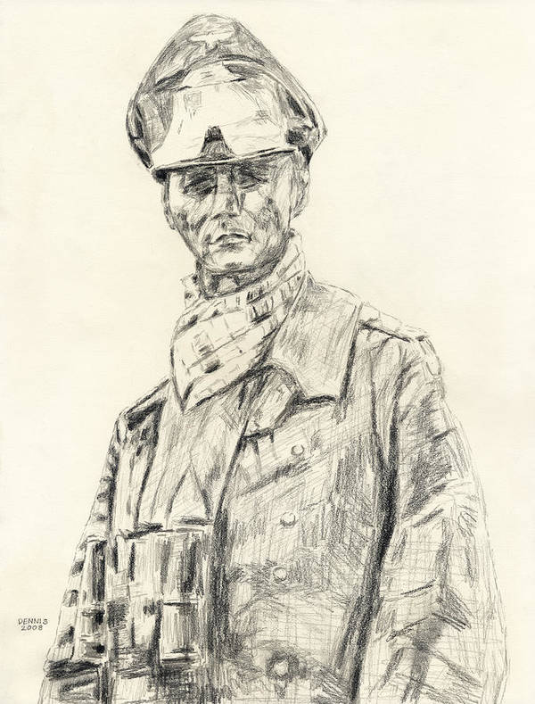 Rommel Art Print featuring the drawing Erwin Rommel by Dennis Larson