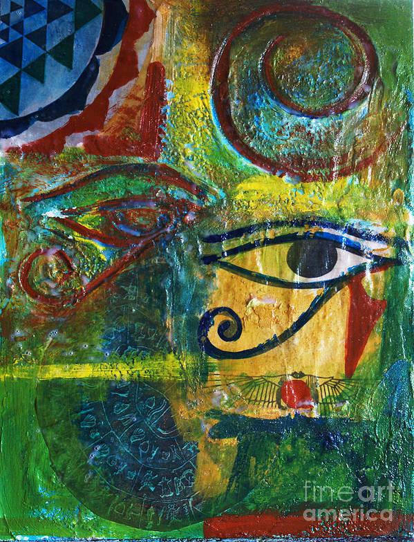 Mixed Media Painting Art Print featuring the mixed media Eyes Of Horace by Ishita Bandyo