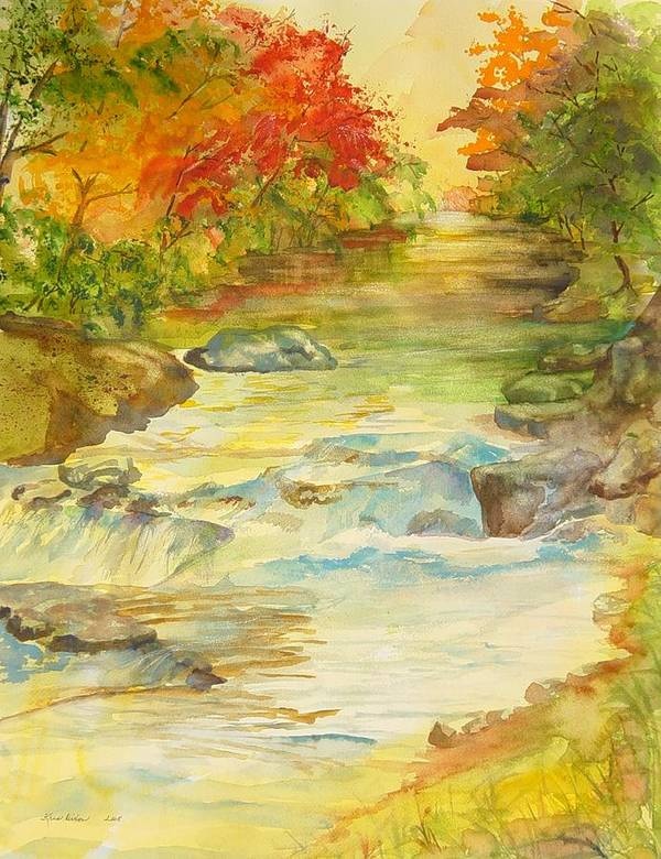 Mountain River Art Print featuring the painting Fall On East Fork River by Kris Dixon