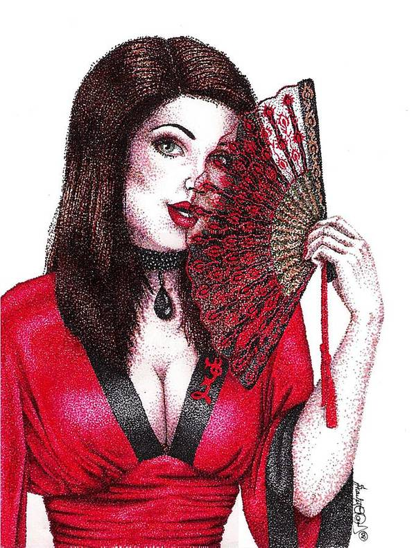 Woman Art Print featuring the drawing Fanning Flirtation by Scarlett Royal
