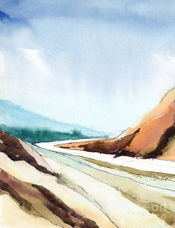 Landscape Art Print featuring the painting Far Away by Anil Nene