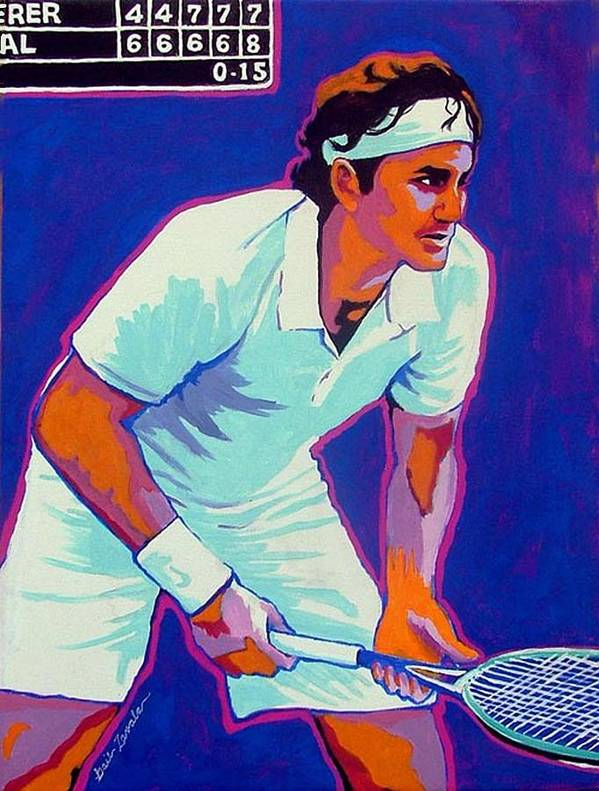 Tennis Art Print featuring the painting Federer by Gail Zavala