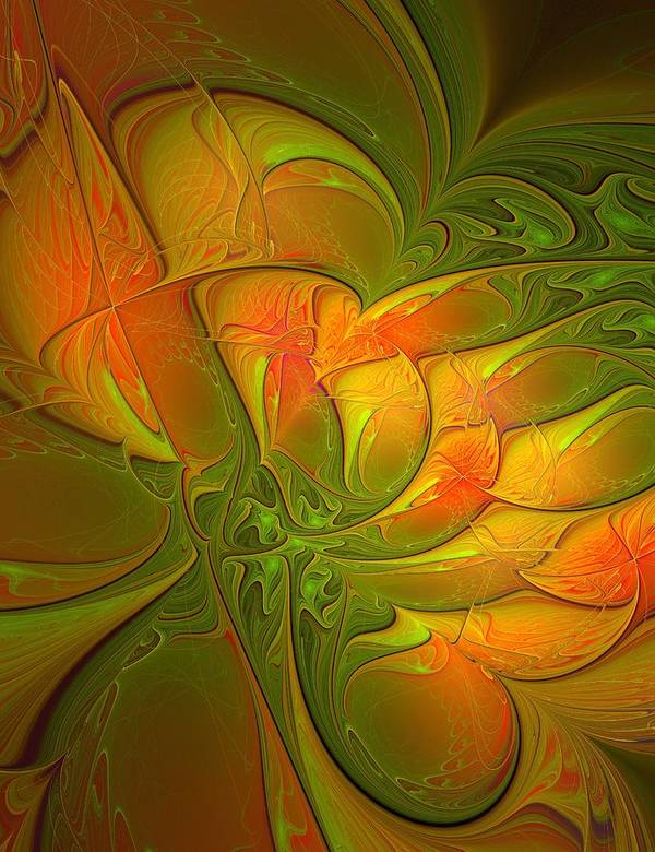 Digital Art Art Print featuring the digital art Fiery Glow by Amanda Moore