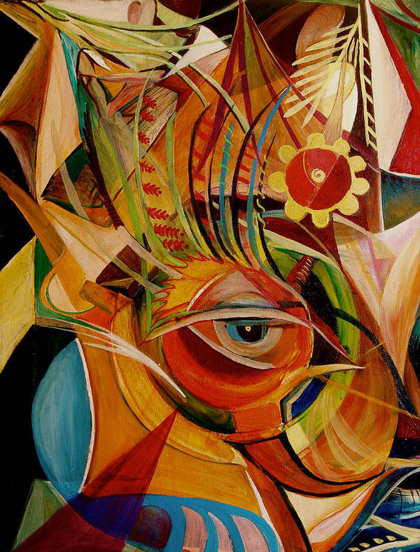 Abstract Art Print featuring the painting Fire Bird by Ibrahim Rahma