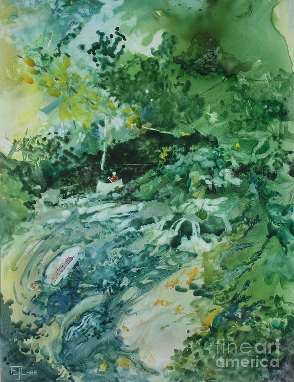 Green Art Print featuring the painting Fish Ahead by Elizabeth Carr