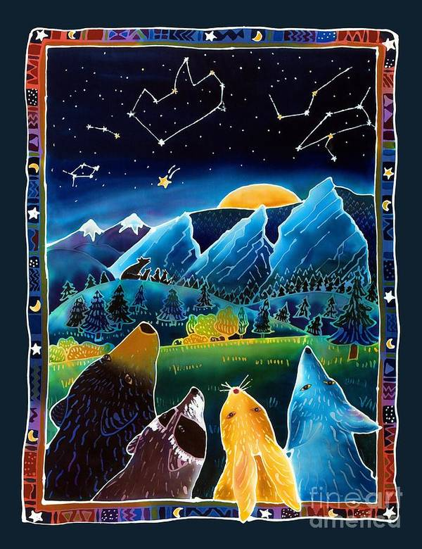 Night Scene Print featuring the painting Flatirons Stargazing by Harriet Peck Taylor