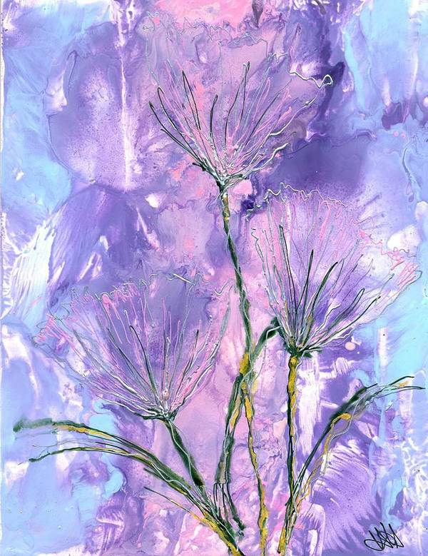 Flowers Art Print featuring the painting Flora Haze by Heather Hennick