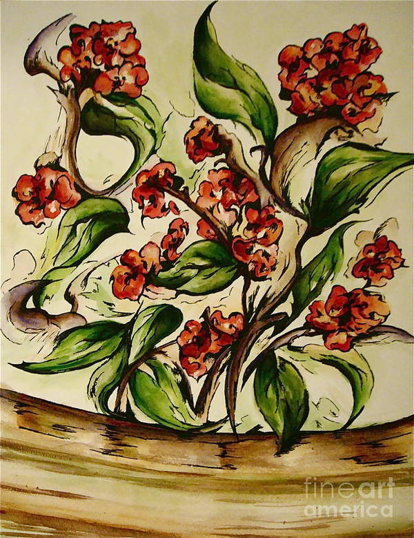 Floral Art Print featuring the painting Floral Wisp by Dani Marie