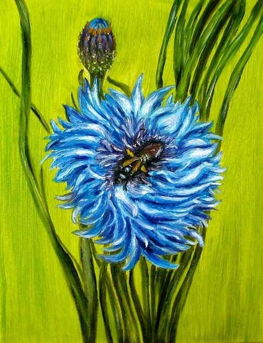 Flower Art Print featuring the painting Flower And Bee Oil Painting by Natalja Picugina