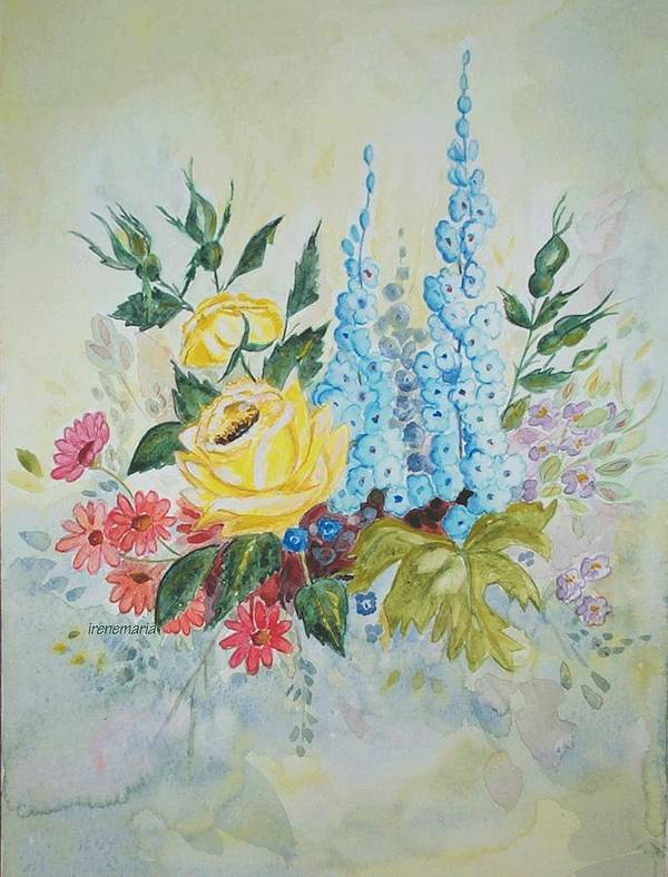 Roses Flowers Art Print featuring the painting Flower Bouquet by Irenemaria Amoroso