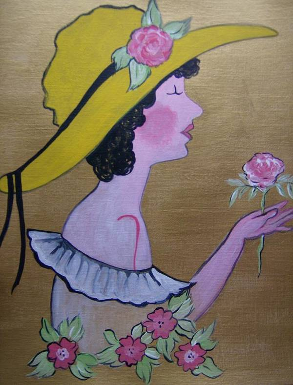 Acrylic Art Print featuring the painting Flower Girl by Leslie Manley