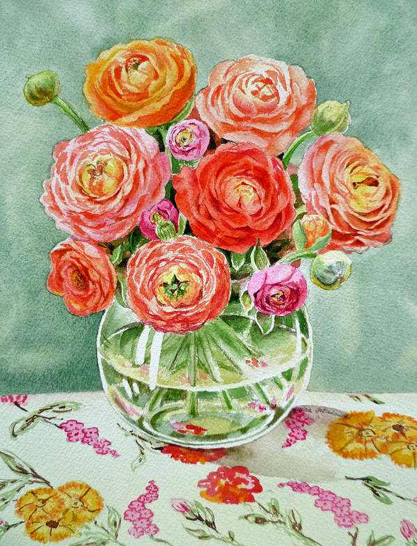 Flowers Art Print featuring the painting Flowers In The Glass Vase by Irina Sztukowski