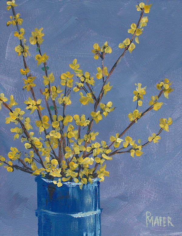 Flowers Art Print featuring the painting Forsythia by Pete Maier