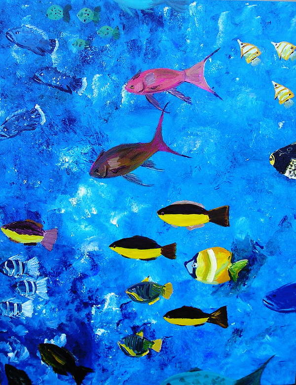 Fish Ocean Blue Vibrant Abstract Tropical Fun Art Print featuring the painting Frivolity Downunder by Sher Green