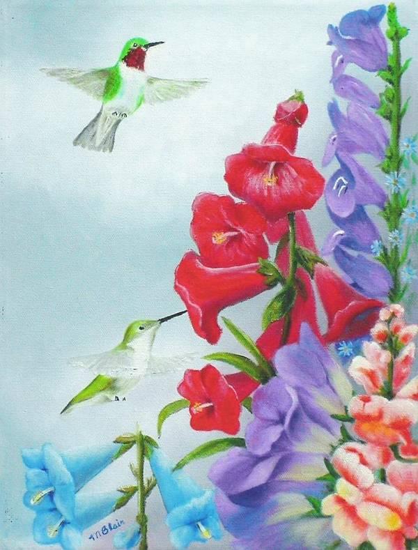 Birds Art Print featuring the painting Garden Beauties by Merle Blair