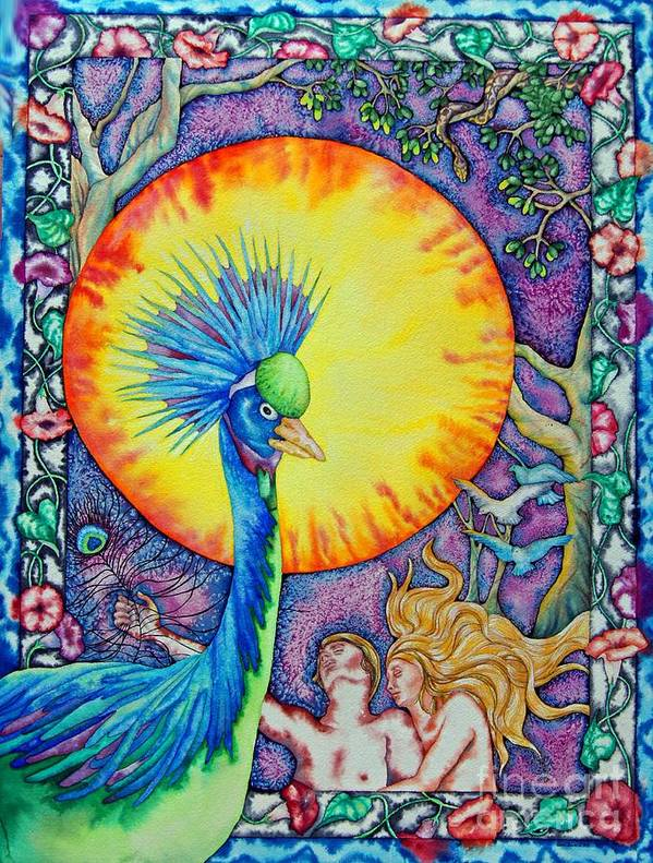 Peacock Art Print featuring the painting Garden Of Eden by Gail Zavala