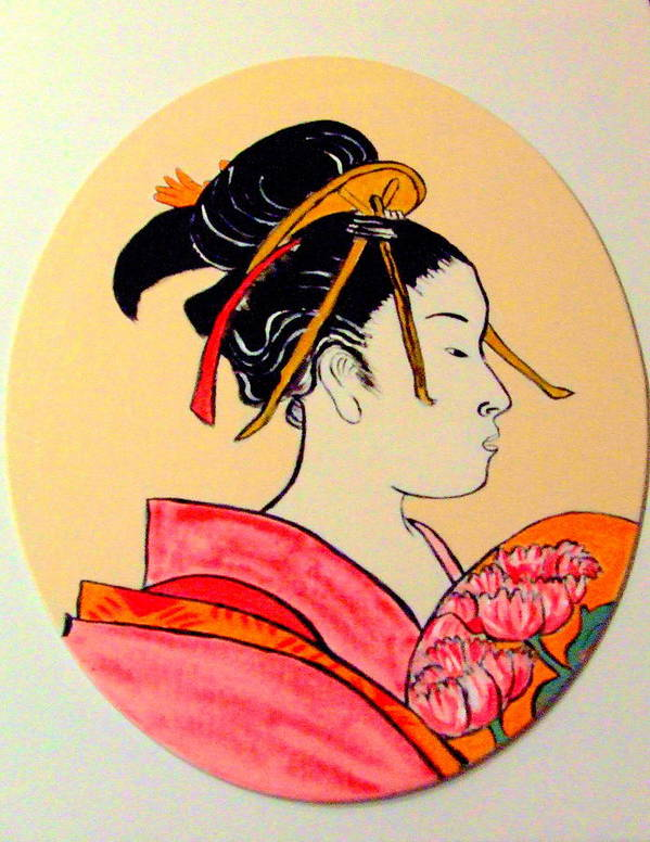 Geisha Girls Art Print featuring the painting Geisha In The House Of Pleasure by Rusty Gladdish