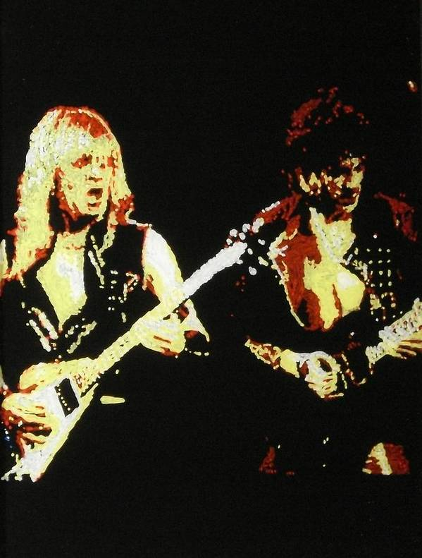 Judas Priest Art Print featuring the painting Glenn Tipton And K.k. Downing by Grant Van Driest