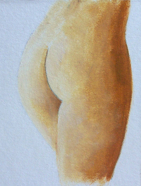 Nude Art Print featuring the painting Golden Derriere by Bill Brauker