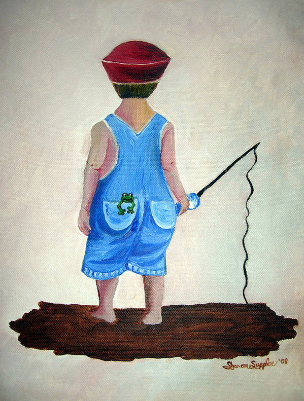 Fishing Art Print featuring the painting Gone Fishing by Sharon Supplee