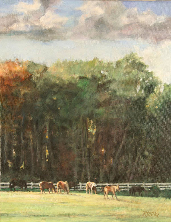 Horse Art Print featuring the painting Grazing Horses by Robert Tutsky