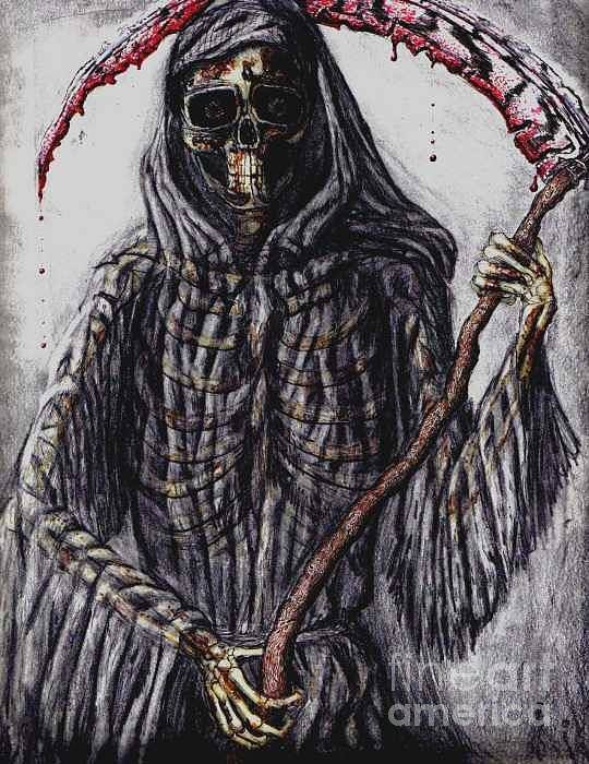 Grim Reaper Art Print featuring the drawing Grim Reaper Colored by Katie Alfonsi