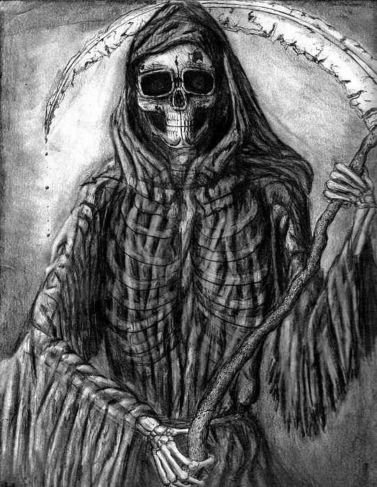 Grim Reaper Art Print featuring the drawing Grim Reaper by Katie Alfonsi