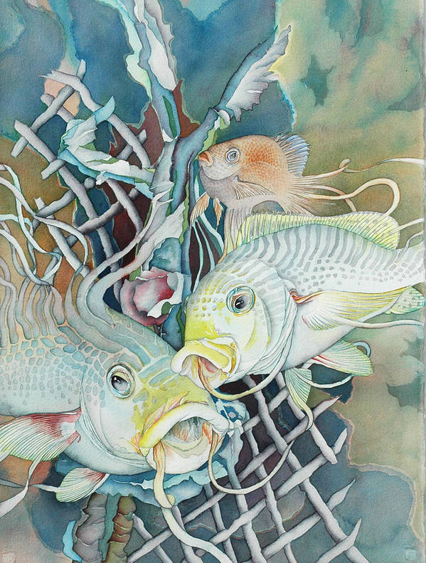 Fish Art Print featuring the painting Groupers And Their Friends by Liduine Bekman