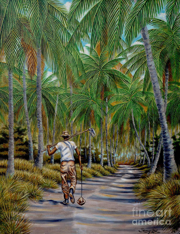 Palm Grove Art Print featuring the painting Guillermo Y Su Palmar by Samuel Lind