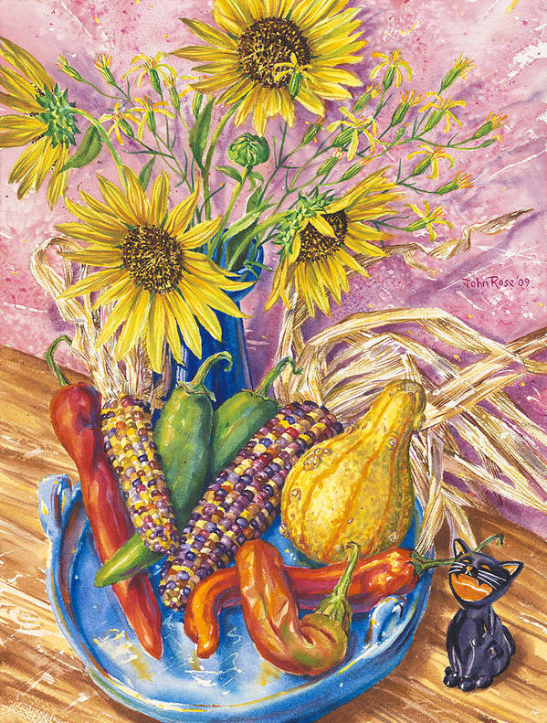 New Mexico Art Print featuring the painting Harvest Meow by John Rose