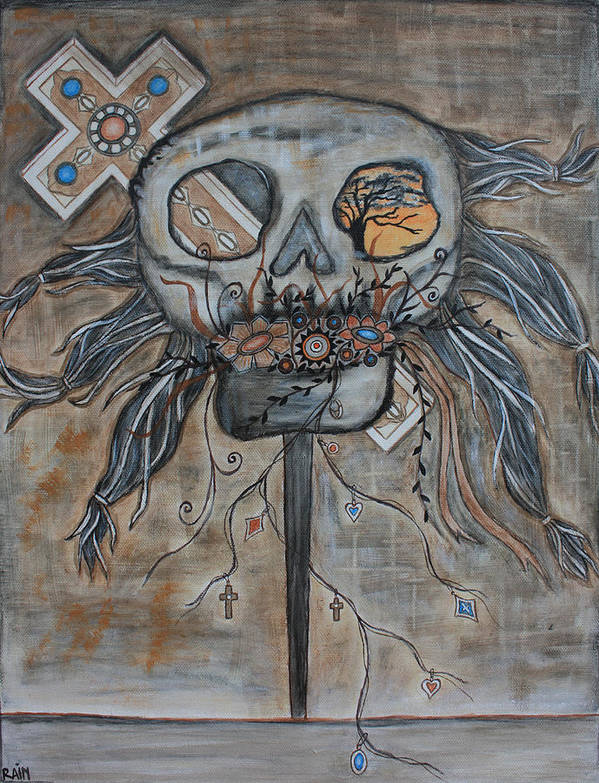 Skull Paintings Art Print featuring the painting Heaven And Hell by Rain Ririn