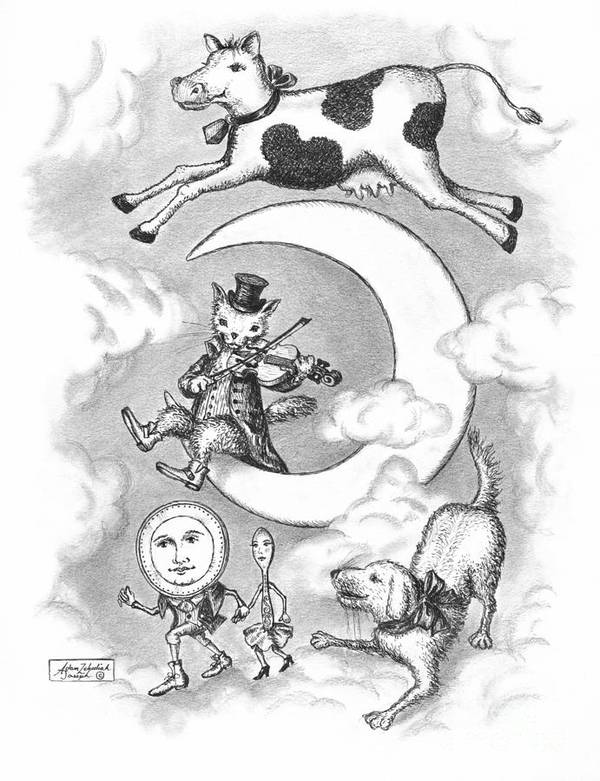 Art Print featuring the drawing Hey Diddle Diddle by Adam Zebediah Joseph