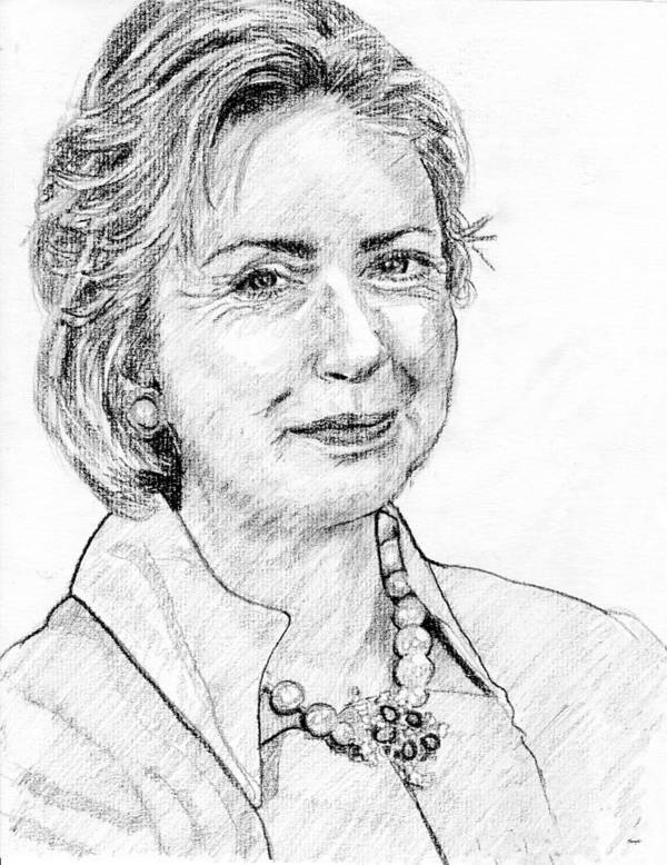 Hillary Clinton Art Print featuring the drawing Hillary Clinton Pencil Portrait by Rom Galicia