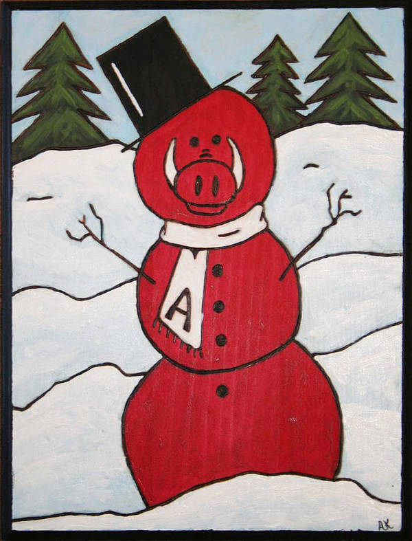 Arkansas Razorbacks Art Print featuring the painting Hog Snowman by Amy Parker Evans